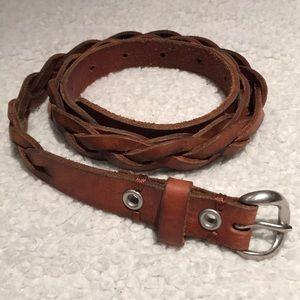 Braided Reddish Brown Leather Belt